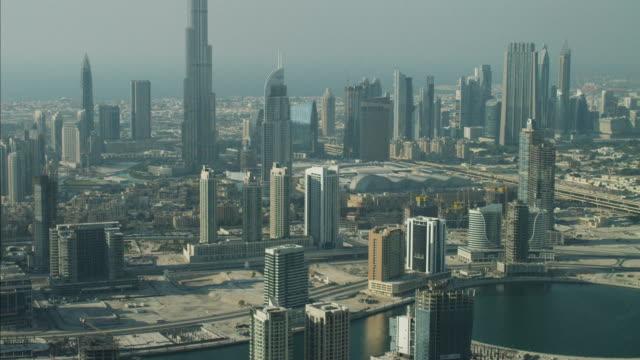 Aerial Dubai Business Bay Burj Khalifa Skyscraper UAE