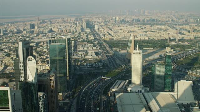aerial dubai city sheikh zayed road metro rail - tower stock videos & royalty-free footage