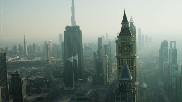 aerial dubai city skyscrapers burj khalifa sheikh zayed - tower stock videos & royalty-free footage
