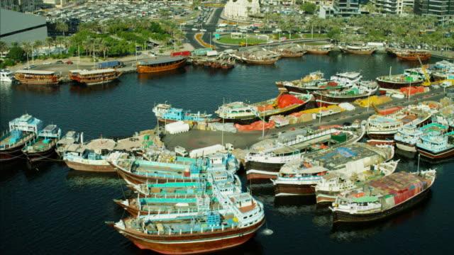 Aerial Dubai Creek Commercial Spice Port Dhow vessels