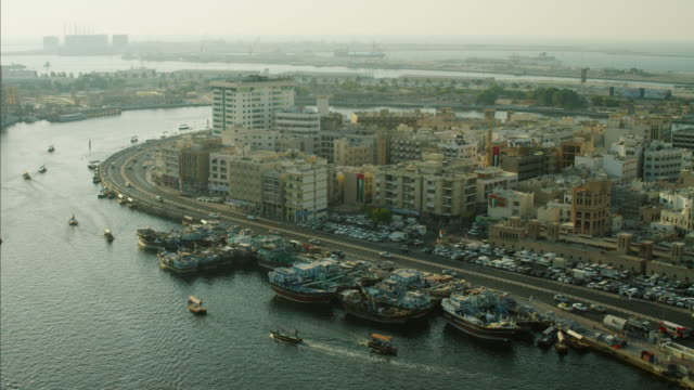 Aerial Dubai Creek Harbour Deira Spice Souk Junk
