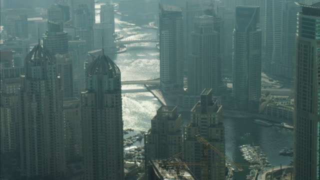 aerial dubai marina yachts apartment skyscrapers uae - grattacielo video stock e b–roll