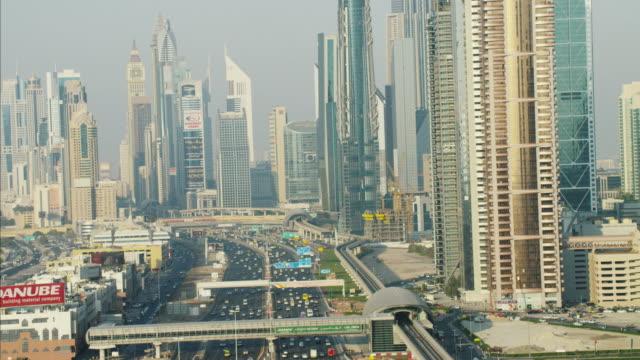 Aerial Dubai Metro Sheikh Zayed Road Emirates Towers
