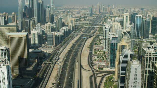 Aerial Dubai Sheikh Zayed Road Intersection Dubai Metro
