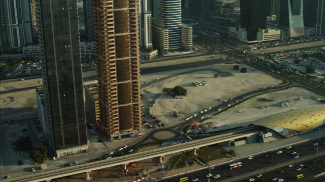 Aerial Dubai Skyscrapers Office Sheikh Zayed Road UAE