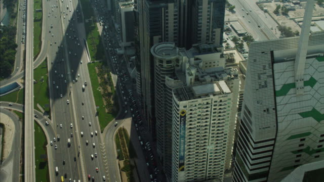 aerial dubai skyscrapers sheikh zayed road uae - dubai stock videos & royalty-free footage