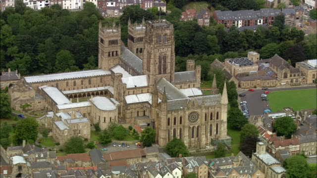 aerial durham cathedral / durham, england - county durham england stock videos & royalty-free footage