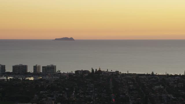 aerial dusk illuminated view glorietta bay san diego - bay of water stock videos & royalty-free footage