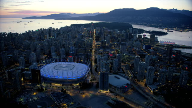 Aerial dusk view downtown Vancouver British Columbia Canada