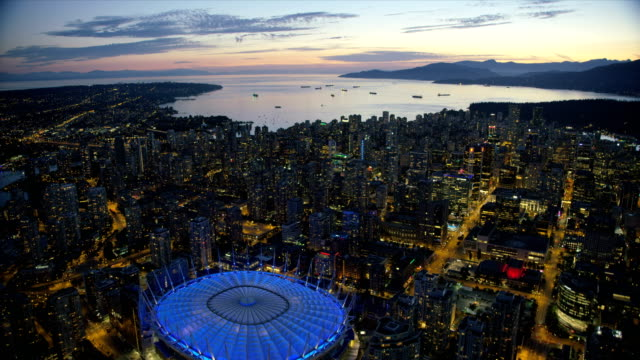 aerial dusk view downtown vancouver british columbia canada - anchored stock videos & royalty-free footage