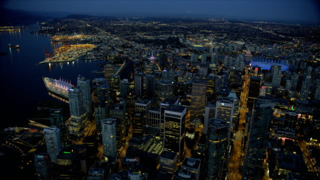 aerial dusk view downtown vancouver british columbia canada - vancouver canada stock videos and b-roll footage