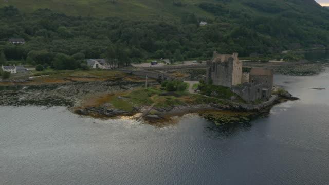 Aerial dusk view Eilean Donan castle Loch Duich