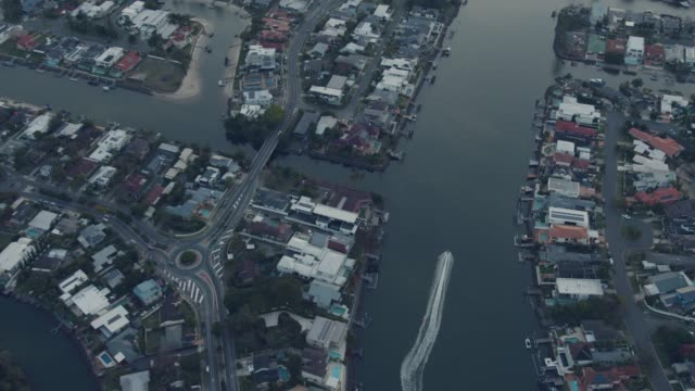 aerial dusk view residential homes gold coast queensland - nautical vessel stock videos & royalty-free footage