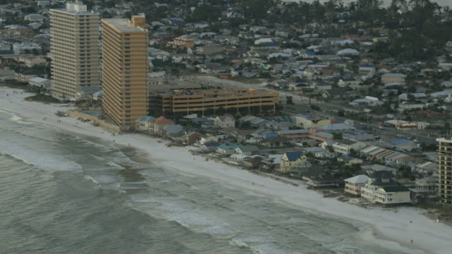 aerial dusk view vacation resort panama city beach - florida us state stock videos and b-roll footage