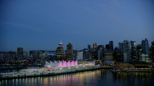 aerial dusk view vancouver harbour british columbia canada - ferry terminal stock videos & royalty-free footage