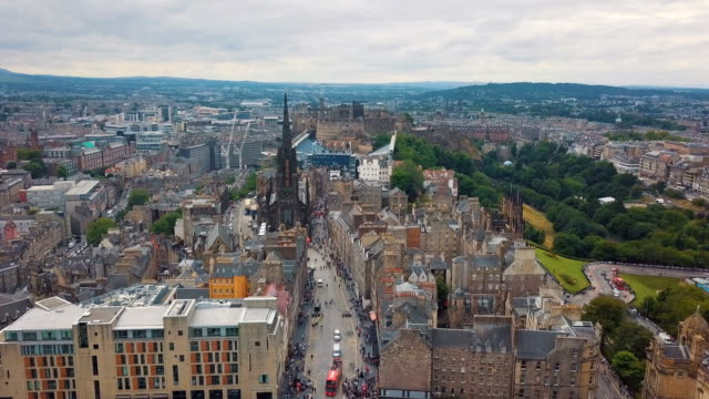 aerial /edinburgh festival  and visitors on the royal mile - royal mile stock videos and b-roll footage