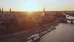 Aerial Eiffel tower Paris sunset