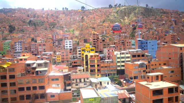 aerial el alto la paz cable cars bolivia - la paz bolivia stock videos & royalty-free footage