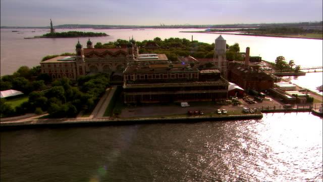 Aerial Ellis Island and New York Harbour/ New York City
