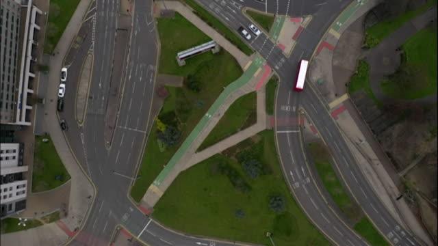 aerial empty uk city roads - motorway junction stock videos & royalty-free footage