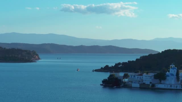 Aerial - Entering a small harbor at dusk - Porto Heli - Porto Cheli - Greece - Argolis - Argolida