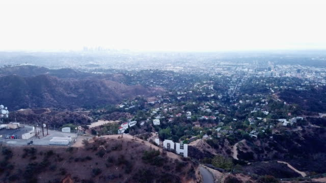 Aerial: Entering Hollywood from Behind the Sign