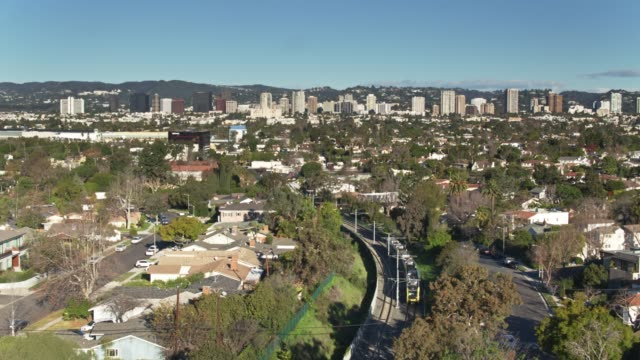 aerial establisher of west los angeles - westwood neighborhood los angeles stock videos & royalty-free footage