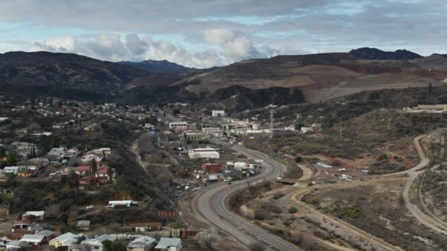 aerial establishing shot of arizona mining town of miami - arizona stock videos & royalty-free footage