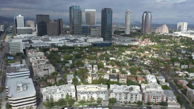 aerial establishing shot of century city skyline - century city stock videos & royalty-free footage