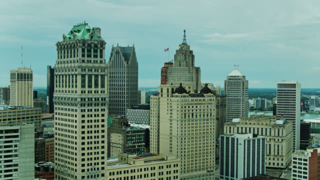 aerial establishing shot of downtown detroit - ontario canada stock videos & royalty-free footage