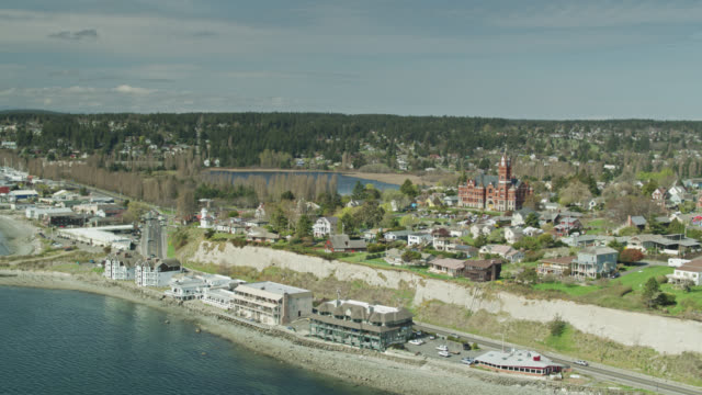 aerial establishing shot of port townsend, wa - puget sound stock videos & royalty-free footage