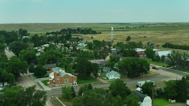 aerial establishing shot of small nebraska town - compartment stock videos & royalty-free footage