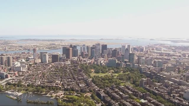 aerial establishing shot of the boston skyline - back bay stock-videos und b-roll-filmmaterial