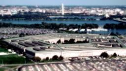 Aerial establishing shot of the Pentagon building