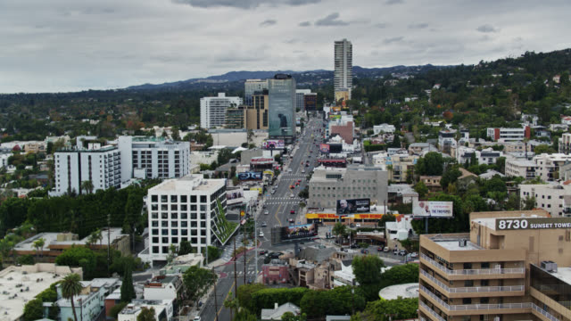 aerial establishing shot of the sunset strip - west hollywood stock videos & royalty-free footage
