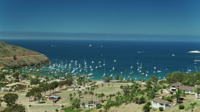 aerial establishing shot of two harbors, catalina island - channel islands california stock videos & royalty-free footage