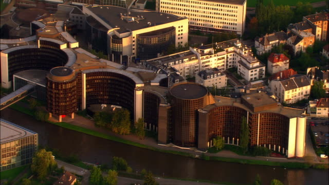 Aerial WS European Union offices along Ill River / Strasbourg, Alsace, France