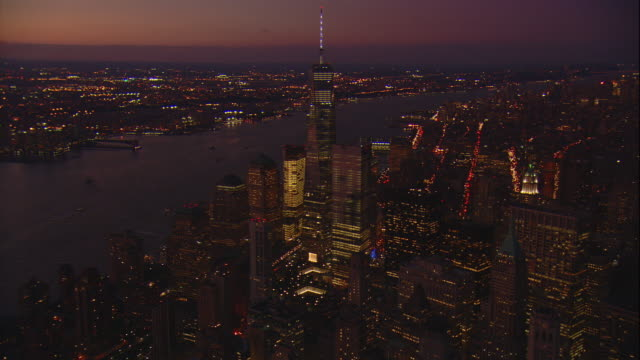 Aerial Evening Shot Starting With Full Height Of The Freedom Tower