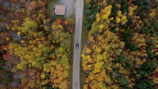 aerial exit: blue car on road in bright forest covered plain - dixville notch, new hampshire - rustic stock videos & royalty-free footage