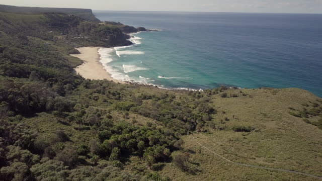 aerial exit: blue ocean waves crashing on shore at bottom of tree covered hills, royal national park, australia - royal blue stock videos & royalty-free footage