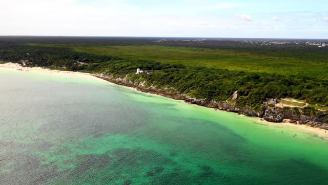 aerial exit: luscious green plain on edge of a green ocean in tulum, mexico - tulum mexico stock videos & royalty-free footage