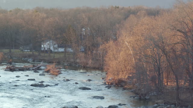 aerial falling down over river on winter day in new york - new paltz stock videos and b-roll footage