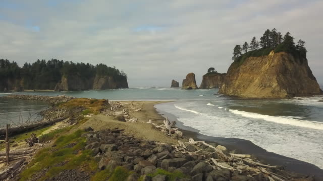 aerial: famous sea cliff of olympic national park - national landmark stock videos & royalty-free footage