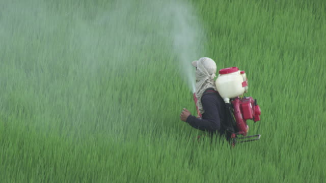 aerial - farmworker spraying pesticide in agricultural field, near city of bonao, dominican republic. - chemical stock videos & royalty-free footage