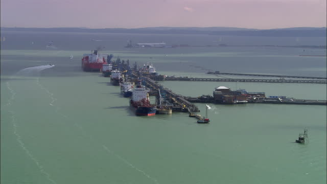 aerial fawley refinery on southampton water/ southampton, england - english channel stock videos & royalty-free footage