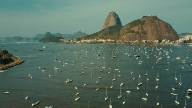 aerial flight along sugarloaf mountain in rio de janeiro, brazil - brazil stock videos & royalty-free footage