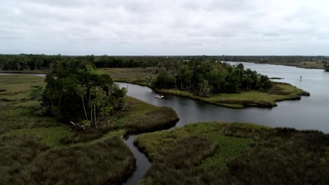Aerial flight over a canal off the Crystal River in Florida