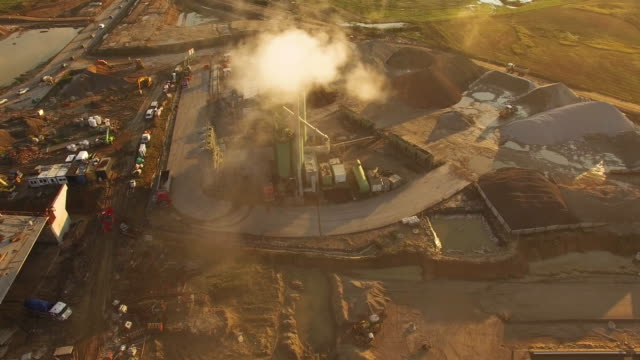 Aerial flight over construction site
