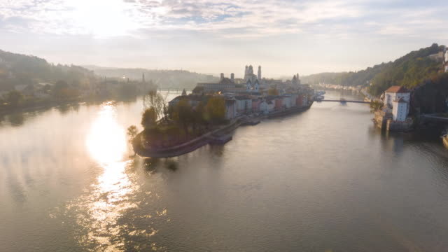 aerial flight over danube river over passau - inn river stock videos and b-roll footage