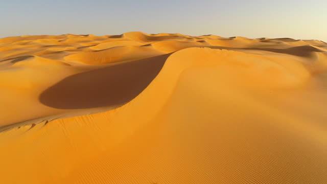 aerial flight over dunes in the desert, Rub al-Khali desert, the empty quarter